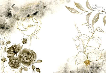 Watercolor monochrome floral composition. Hand painted sepia and golden flowers with branches isolated on white background. Floral vintage illustration for design, print, or background. Фото со стока