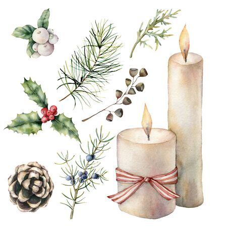 Watercolor Christmas decor with candles. Hand painted pine cone, bow, juniper and fir branch, holly and snowberry isolated on white background. Illustration for design, print, fabric or background