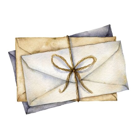 Watercolor envelopes with bow. Hand painted white, beige and blue envelopes isolated on white background. Vintage mail icon. Christmas illustration for design, print, fabric or background.