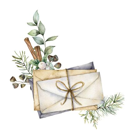 Watercolor Christmas card with envelopes and decor. Hand painted envelopes, eucalyptus branch and cinnamon isolated on white background. Vintage illustration for design, print, fabric or background.