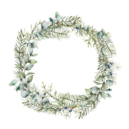 Watercolor winter wreath with juniper and eucalyptus branch. Hand painted berries and leaves composition isolated on white background. Holiday floral illustration for design, print or background.