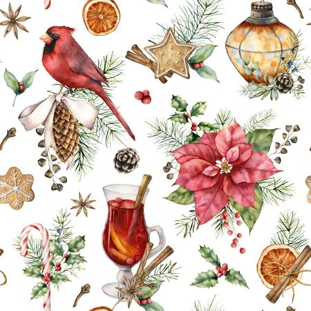 Watercolor Christmas seamless pattern with cardinal and poinsettia. Hand painted card with lantern and mulled wine isolated on white background. Illustration for design, print, fabric or background Standard-Bild