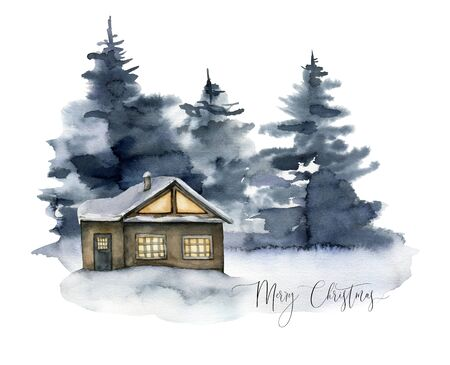 Watercolor Mery Christmas card with winter forest and house. Hand painted foggy fir trees illustration isolated on white background. Holiday clip art for design, print, fabric or background.