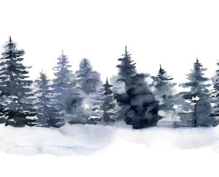 Watercolor seamless border with winter forest. Hand painted foggy fir trees illustration isolated on white background. Holiday clip art for design, print, fabric or background. Christmas card.