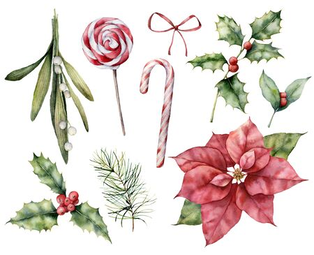 Watercolor Christmas set with poinsettia and mistletoe. Hand painted holiday holly, candy cane and bow isolated on white background. Winter floral illustration for design, print, fabric or background.