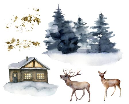 Watercolor set with deers, house and winter forest. Hand painted Christmas illustration with animals and fir trees isolated on white background. For design, print, fabric or background. Wildlife.