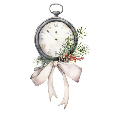 Watercolor vintage table clock with bow. Christmas illustration with pine needles and berries isolated on white background. Five minutes to twelve oclock of new year. For design, print or background.