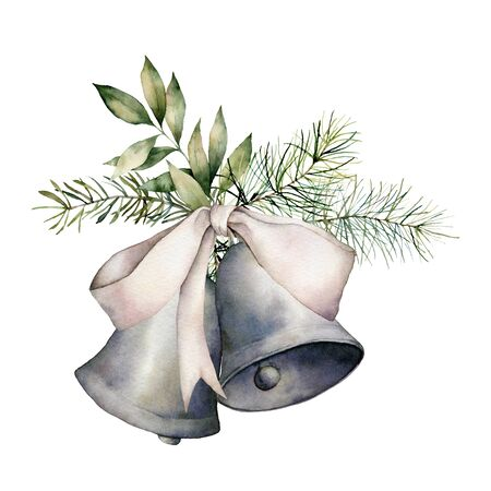 Watercolor Christmas composition with silver bow and bells. Hand painted holiday decor with fir branch isolated on white background. Vintage illustration for design, print, fabric or background.