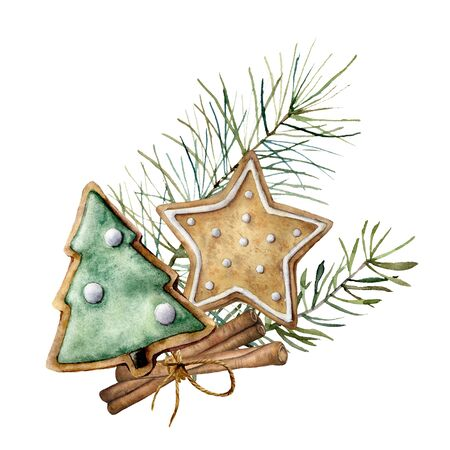 Watercolor Christmas card with spice and cookie. Hand painted composition with cinnamon and pine branches isolated on white background. Holiday food illustration for design, print, fabric, background.