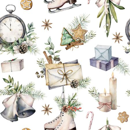 Watercolor Christmas clock seamless pattern. Vintage illustration with envelope, candle and skates isolated on white background. Five minutes to twelve oclock. For design, print, fabric, background. 免版税图像