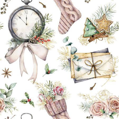 Watercolor Christmas seamless pattern with clock and sock. Hand painted fir branches, envelopes and cookies isolated on white background. Holiday illustration for design, print, fabric or background. Standard-Bild