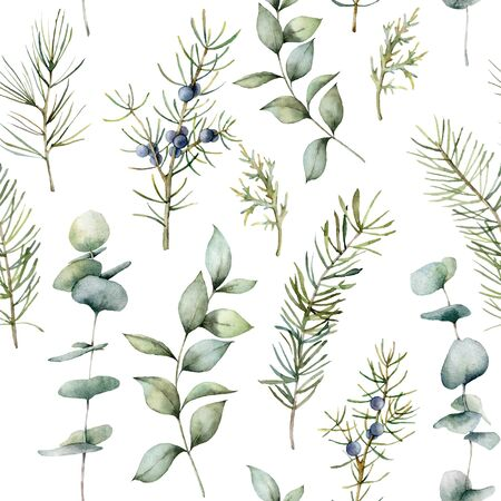 Watercolor Christmas seamless pattern with eucalyptus and pine branches. Hand painted winter holiday plants isolated on white background. Holiday illustration for design, print, fabric or background.