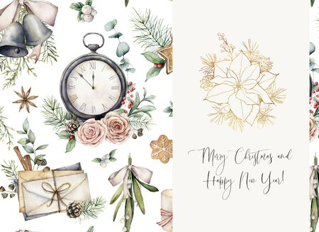 Watercolor Christmas card with golden poinsettia and clock. Hand painted holiday phrase, envelopes, bells, mistletoe and roses isolated on white background. Line art illustration for design or print.