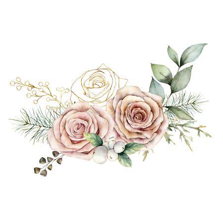 Cartolina di Natale dell'acquerello con rose rosa e dorate. Fiori, semi e rami vintage floreali dipinti a mano isolati su sfondo bianco. Illustrazione delle vacanze per il design, la stampa o lo sfondo.