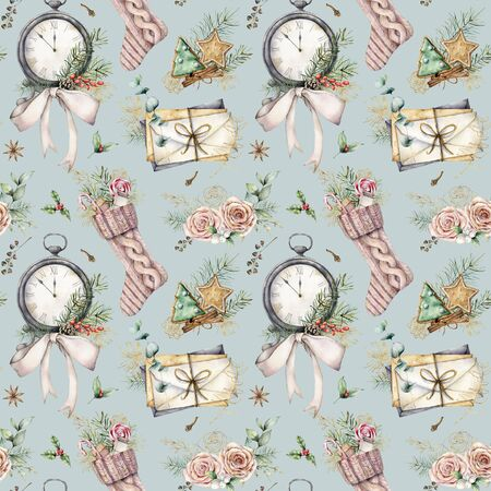 Watercolor Christmas seamless pattern with sock and clock. Hand painted fir branches, envelopes and cookies isolated on blue background. Holiday illustration for design, print, fabric or background. Stock Photo