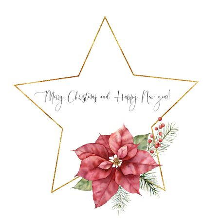 Watercolor Christmas frame with golden star and poinsettia. Hand drawn holiday flower isolated on white background. Greeting label template. Holiday illustration for design, print, fabric, background.