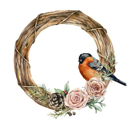 Watercolor Christmas wreath with bullfinch and roses. Hand painted eucalyptus leaves, pine cones, berries, fir branches isolated on white background. Holiday symbol for design, print or background.