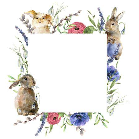 Tarjeta de Pascua acuarela con conejitos y flores. Conejos pintados a mano con lavandas, rosas y sauces aislados sobre fondo blanco. Ilustración de vacaciones para diseño, impresión, tela o fondo.