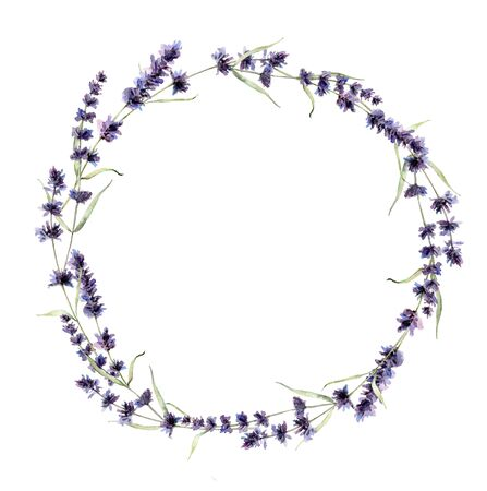 Watercolor lavender wreath. Hand painted violet flowers, branch and leaves isolated on white background. Spring illustration for design, print, fabric or background. Template for holiday Stok Fotoğraf