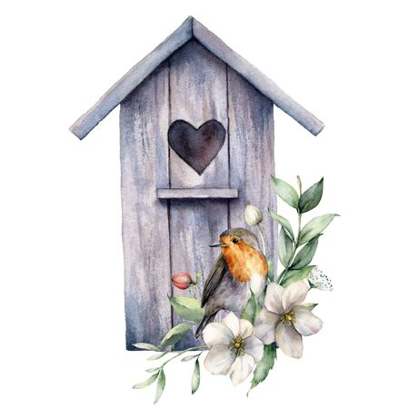 Watercolor card with bird house, robin and anemones. Spring illustration with a flowers and a bird isolated on a white background. Scene of wild nature for design, print, fabric. Easter template Banco de Imagens