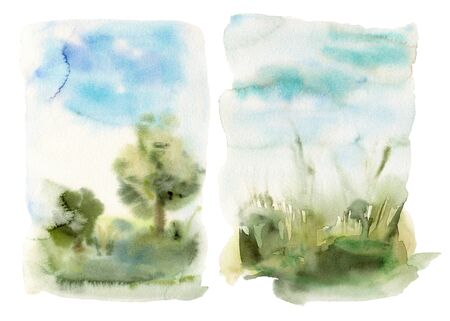 Set of watercolor abstract landscapes. Hand painted cards with tree, sky, clouds, trees and grass. Nature illustration isolated on a white background for design, printing, fabric or background.