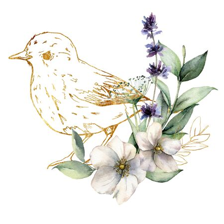 Watercolor card with golden bird and anemones. Spring line art illustration with flowers and lavender isolated on a white background. Scene of wild nature for design, print or fabric. Spring template.