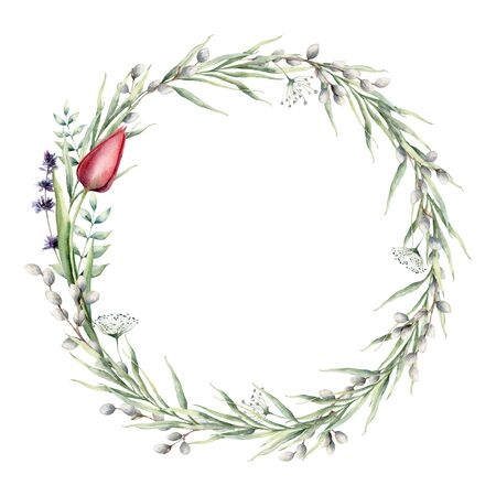 Watercolor floral wreath with tulip and lavender. Hand painted holiday flowers, willow, bud, grass and leaves isolated on white background. Spring illustration for design, print, fabric or background.