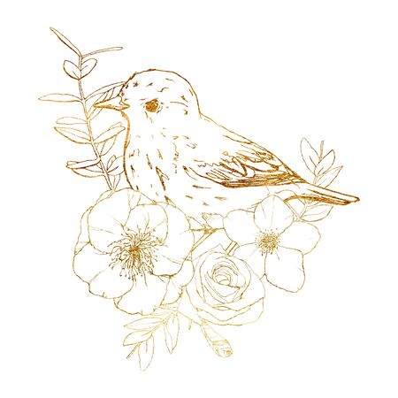 Watercolor card with golden bird and roses. Spring line art illustration with flowers and robin isolated on a white background. Scene of wild nature for design, print or fabric. Spring template.