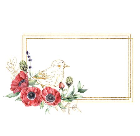 Watercolor golden frame with red anemones, lavender and bird. Hand painted holiday flowers and leaves isolated on white background. Spring illustration for design, print, fabric or background.