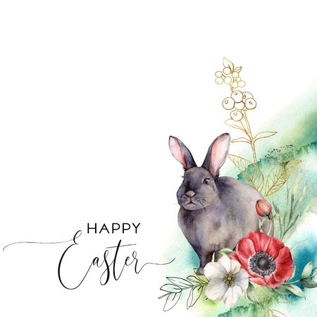 Watercolor Easter card with flowers and rabbit. Hand painted anemones, golden berries, bud and leaves isolated on white background. Spring line art illustration for design, print, fabric, background. Фото со стока
