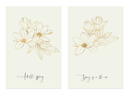 Watercolor floral cards with golden magnolia. Hand painted spring phrases, flowers and leaves isolated on white background. Line art illustration for design or print. Banco de Imagens