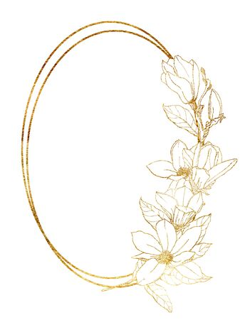 Watercolor golden frame with line art magnolia. Hand painted spring flowers and leaves isolated on white background. Floral illustration for design, print, fabric or background.