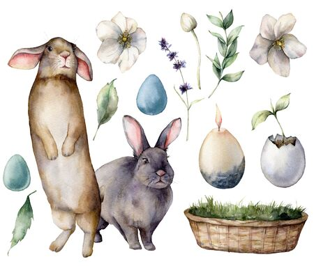 Watercolor rabbits and Easter symbols. Hand painted colored eggs, flowers and plants, decor. Holiday illustration isolated on white background. For design, print, fabric or background.
