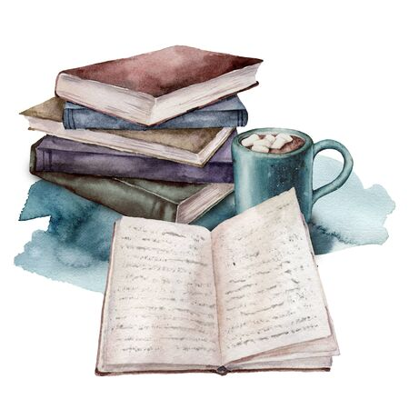 Watercolor card with vintage books and cup of coffee. Hand painted stack of books isolated on white background. Illustration for design, print, fabric or background.