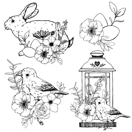 Vector Easter set with line art bunny, bird, flowers and eggs. Hand painted lantern, anemones and chamomile isolated on white background. Spring illustration for design, print or background.