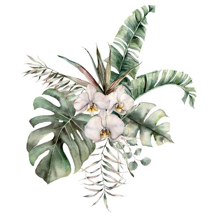 Watercolor bouquet with orchid, monstera and eucalyptus branches. Hand painted tropical card with flowers and leaves isolated on white background. Floral illustration for design, print or background.