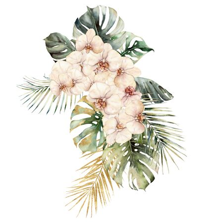 Watercolor bouquet with orchids, monstera and coconut golden leaves. Hand painted tropical card with flowers isolated on white background. Floral illustration for design, print or background.