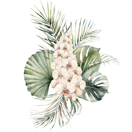 Watercolor bouquet with peach orchids, monstera and coconut leaves. Hand painted tropical card with flowers isolated on white background. Floral illustration for design, print or background. 版權商用圖片