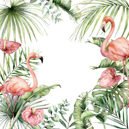 Watercolor tropical card with pink flamingo, anthurium and monstera. Hand painted birds, flowers and jungle palm leaves. Floral illustration isolated on white background for design, print, background.