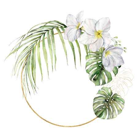 Watercolor golden frame with plumeria and palm leaves. Hand painted tropical flowers and jungle greenery isolated on white background. Frangipani. Floral illustration for design, print or background.