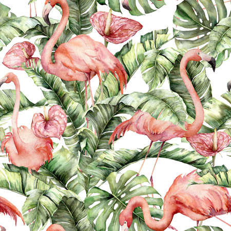 Watercolor seamless pattern with pink flamingos, anthurium and leaves. Hand painted tropical birds and greenery. Floral illustration isolated on white background for design, print, fabric, background.