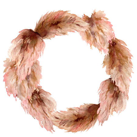 Watercolor tropical wreath with dry pampas grass. Hand painted exotic leaves isolated on white background. Floral illustration for design, print, fabric or background.