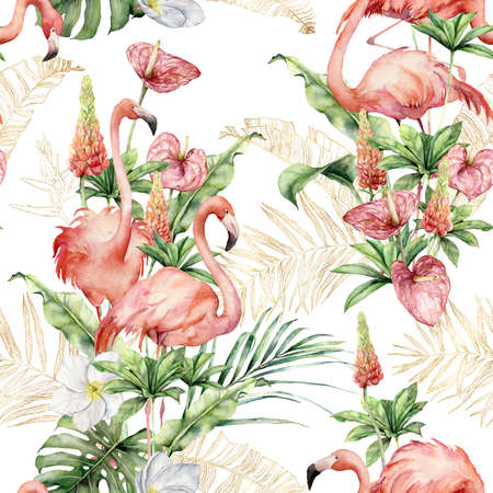 Watercolor seamless pattern with pink flamingos, tropical flowers and linear gold leaves. Hand painted floral illustration isolated on white background for design, print, fabric, background.