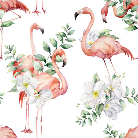 Watercolor seamless pattern with pink flamingos, plumeria and eucalyptus leaves. Hand painted floral illustration with flowers isolated on white background for design, print, fabric or background.