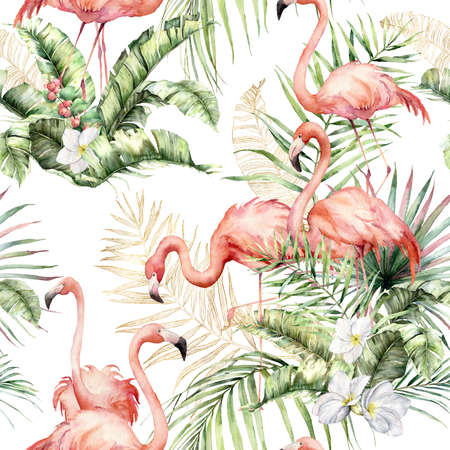 Watercolor seamless pattern with pink flamingos, linear gold leaves and tropical flowers. Hand painted floral illustration isolated on white background for design, print, fabric, background. 免版税图像