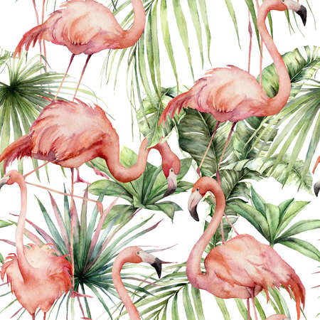 Watercolor seamless pattern with pink flamingos and tropical leaves. Hand painted birds and jungle greenery. Floral illustration isolated on white background for design, print, fabric or background. 免版税图像