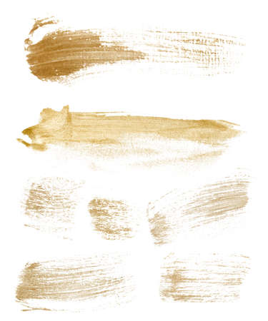 Watercolor golden textures set. Hand painted abstract brush stroke illustration for design, print, fabric or background. 免版税图像