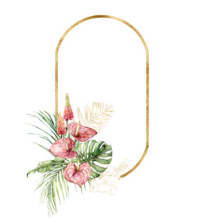 Watercolor tropical gold frame with bouquet of anthurium, lupine and palm leaves. Hand painted linear tropical flowers isolated on white background. Floral illustration for design, print, background. 免版税图像
