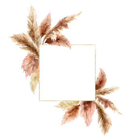 Watercolor tropical bouquet with dry pampas grass and gold frame. Hand painted exotic border isolated on white background. Floral illustration for design, print, fabric or background. 免版税图像