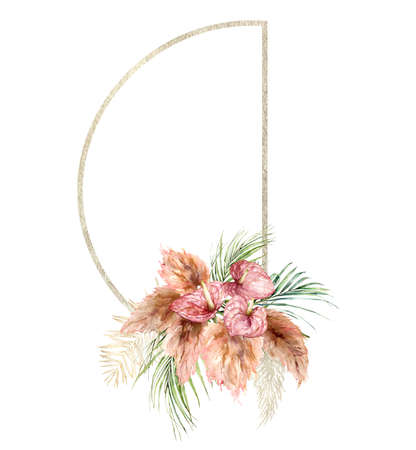 Watercolor tropical frame with bouquet of anthurium, dry pampas grass and palm leaves. Hand painted tropical flowers isolated on white background. Floral illustration for design, print or background. 免版税图像